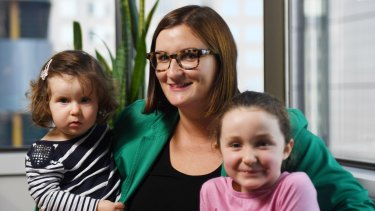 New Education Minister Sarah Mitchell with her daughters Matilda (1), and Annabelle (5).