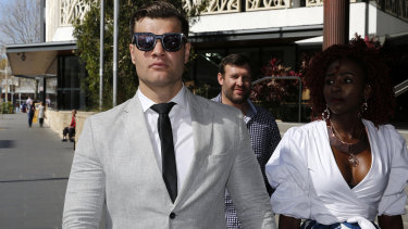 Dane Marsden Cordner leaves Newcastle Local Court in Newcastle during the trial.