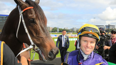 Golden Eagle fancy Brutal with jockey Tommy Berry after winning at Randwick on Epsom day.