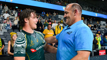 Wallabies captain Michael Hooper is surprised by Ledesma after last year's Test in Sydney.