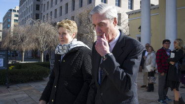 Special Counsel Robert Mueller and his wife Ann depart St John's Episcopal Church, across from the White House.