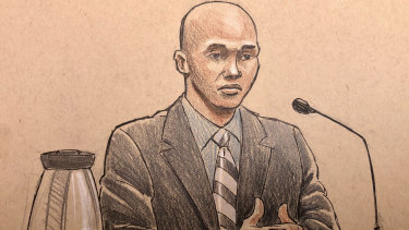 A courtroom sketch of Mohamed Noor on the witness stand.