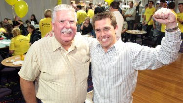 David Campbell, left, with Ryan Park at the election after party for Park in 2011, when he won the seat of Keira.