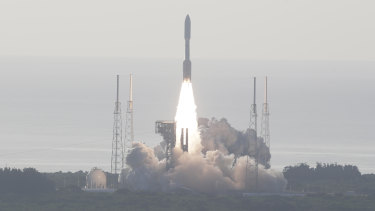 An Atlas V rockets lifts off from the Kennedy Space Centre with NASA's Perseverance rover on its way to Mars.