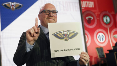 David Griffin celebrates his New Orleans Pelicans drawing the first pick in the draft.