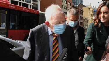 Ron Brierley arrives at court on Thursday.