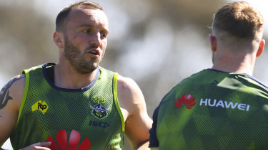 Josh Hodgson (left) trains with the Raiders in Canberra on Wednesday.
