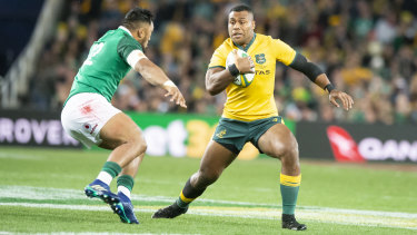 Samu Kerevi in action for the Wallabies during this year's Ireland series.