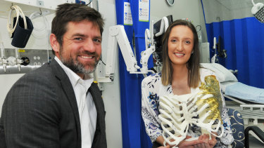 Caitlin Rutherford-Heard has been fitted with a groundbreaking implant  by PA hospital surgeon Dr Michael Wagels.