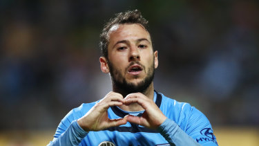Pacesetter: Sydney's Adam Le Fondre is on top of the scoring charts.