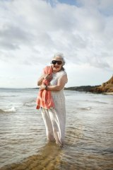 Mirka Mora at her favourite beach, Half Moon Bay, between Sandringham and Black Rock, Melbourne.