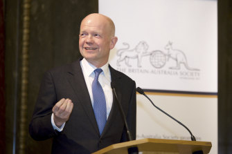 Former Conservative leader and President of the Britain-Australia Society William Hague speaking at Australia House.