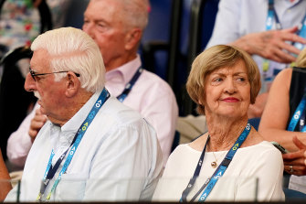 Margaret Court, right, with husband Barry, left, at the Australian Open.