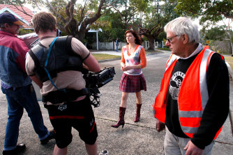 Behind the scenes: Claudia Karvan on set.