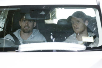 Easton Woof and Lachie Hunter arrive for testing.