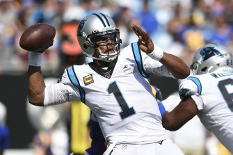 Cam Newton in action for the Panthers last September.