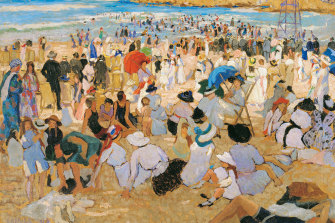 Now outselling her once more famous husband: 'Manly Beach - Summer is Here' (1913) by Ethel Carrick Fox