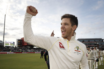 Australian captain Tim Paine celebrates retaining the Ashes in Manchester two years ago.