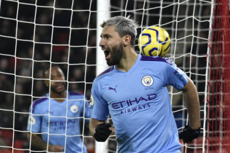Manchester City's Sergio Aguero celebrates scoring in January.
