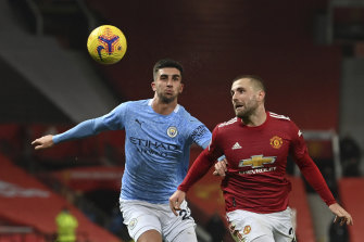 Luke Shaw (right) vies for the ball with Joao Cancelo in the scoreless Manchester derby draw.