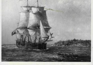 A painting by John Alcott of Captain Cook's HMB Endeavour entering Botany Bay .