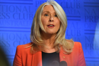 Former journalist Tracey Spicer at the National Press Club in Canberra.