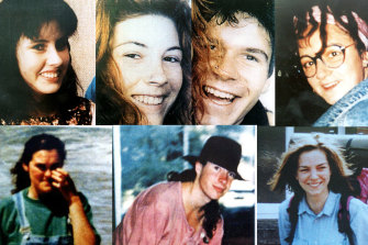 The backpackers murdered by Ivan Milat. Pictured are (from top L to R) Deborah Everist, Anja Habschied, Gabor Neugebauer, Simone Schmidl; (bottom L to R) Joanne Walters, James Gibson, and Caroline Clarke.