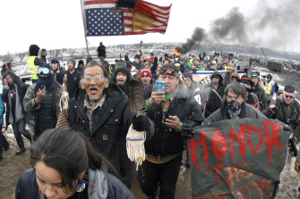 People protest the Dakota Access Pipeline in 2017. Donald Trump approved both the Dakota and Keystone projects.