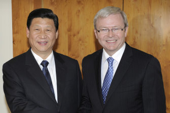 China's then vice-president Xi Jinping with prime minister Kevin Rudd at Parliament House in Canberra in 2010.