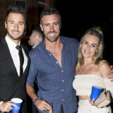 Bachelor and Bachelorette rejects Michael Turnbull,Luke McLeod and Florence Moerenhout in 2018.