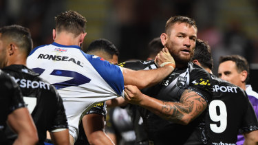 Turning up: Jared Waerea-Hargreaves was among New Zealand's best against Great Britain.