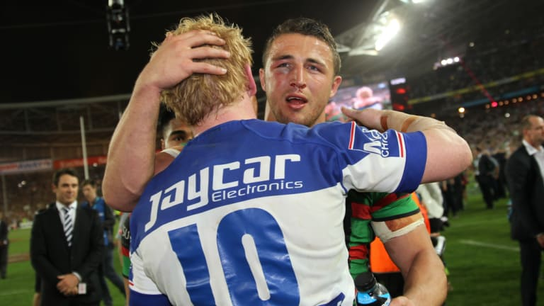 Great Britons: Sam Burgess and James Graham embrace after the 2014 grand final.