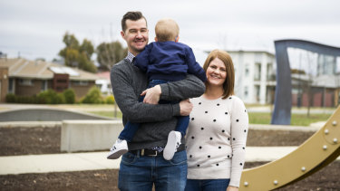 Luke and Aimee Griggs with their foster son.