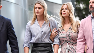 Australian swimmer Shayna Jack (left) and her mother Pauline (right) are seen leaving the briefing with ASADA.