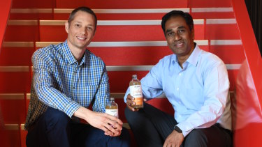 Coca-Cola Australia president Vamsi Mohan, right, and Anthony Crabb, co-founder of the Organic & Raw Trading Co.