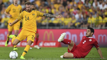 Anticipated return: Martin Boyle scores against Lebanon in a bright beginning to his Australia career before injury struck.