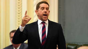 Queensland Minister for State Development, Manufacturing, Infrastructure and Planning Cameron Dick is seen during Question Time at Parliament House in Brisbane
