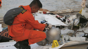 Debris recovered from the area where a Lion Air passenger jet crashed.