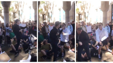 Student protesters clashed at UQ on Thursday.