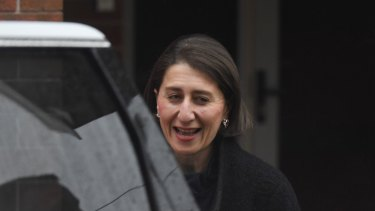 Premier Gladys Berejiklian leaves her home on Tuesday morning ahead of a spill motion for her leadership.