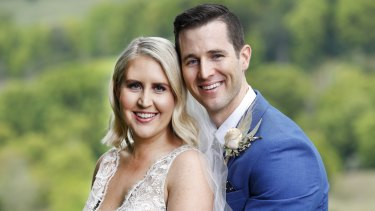 "Matthew and his ""wife"" Lauren on Nine's Married At First Sight."