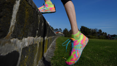 Karen Clements - fitness enthusiast wearing the right shoes for her COVID exercise routine. COVID-19 Coronavirus Pandemic. 18th May 2020 The Age News Picture by JOE ARMAO