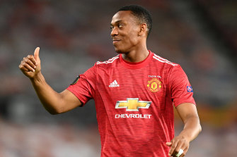 Manchester United's Anthony Martial reacts during United's win.