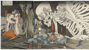 Utagawa Kuniyoshi's Mitsukuni defies the skeleton spectre conjured up by Princess Takiyasha (1845–46).