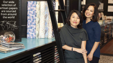Kami Paper business co-owners Jean Soh (left) and Yupin Piesse.