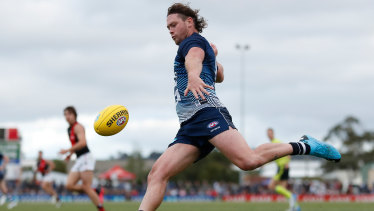 On the burst: Jack Steven in action for Geelong against Essendon at Central Reserve in Colac.