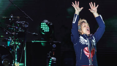 Lay your hands on me: Jon Bon Jovi was the weakest link at the Sydney concert.