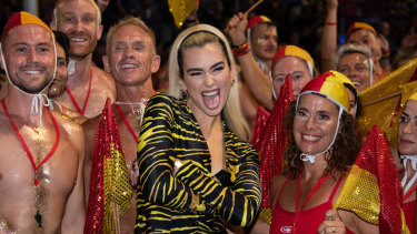 Pop star Dua Lipa takes part in the annual Gay and Lesbian Mardi Gras parade in Sydney.