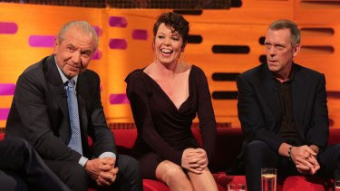 "From left, Lord Alan Sugar,  Olivia Colman and Hugh Laurie on ""The Graham Norton Show"" in 2013."
