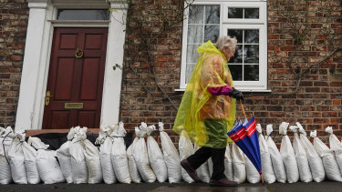 Sand bags in the village of Naburn, near York in the north-east of England, on Sunday as the the River Ouse continued to rise.